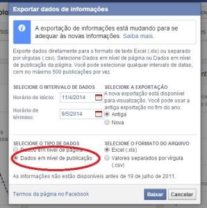 Facebook- salvar dados exportados