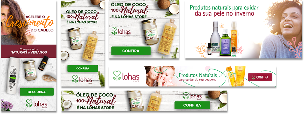 Exemplo banners Google Ads Display Cosméticos Naturais